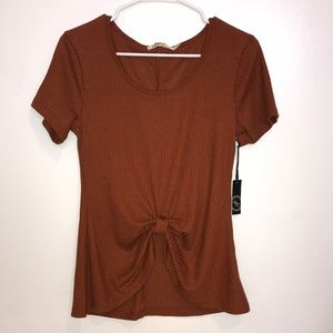 Amber orange knotted knit short sleeve blouse top